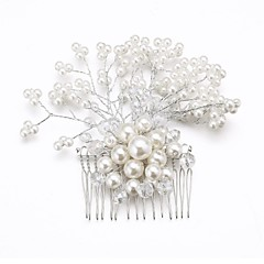 olcso Hajékszerek-Női Koszorúslányok Kristály Ötvözet Gyöngyutánzat Sisak-Esküvő Különleges alkalom Fésűk Virágok