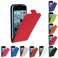 Côr Sólida/Outro - iPhone 5C - Cases Totais ( Vermelho/Preto/Branco/Verde/Azul/Castanho/Rosa/Roxo/Laranja , Pele PU )