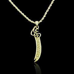 18k valódi aranyozott Allah muszlim imám, Ali kard medál 6 * 3.1cm