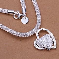 preiswerte Halsketten-Damen Anhängerketten - Sterling Silber Herz, Liebe Brautkleidung Silber Modische Halsketten Schmuck 1pc Für Hochzeit, Party, Jahrestag