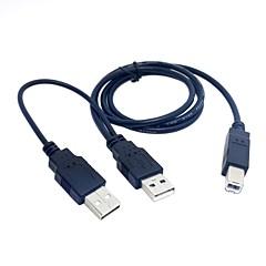 Dual USB 2.0 de sex masculin cu standardul b masculin si 80cm cablu pentru imprimantă& scaner& unitate hard disk externă