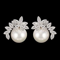 preiswerte Ohrringe-Damen Tropfen-Ohrringe - Perle, Kubikzirkonia Modisch Silber Für Alltag