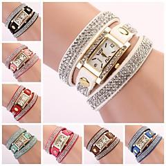 orologio rettangolare banda di strass linea di diamante delle donne