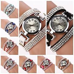 preiswerte Damenuhren-Damen Armband-Uhr Quartz Armbanduhren für den Alltag Leder Band Charme Freizeit Schwarz - Hellblau Hellbraun Dunkelbraun