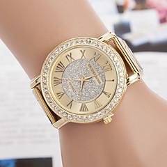 yoonheel Damskie Modny Na codzień Sztuczny Diamant Zegarek Kwarcowy sztuczna Diament Metal Pasmo Złoty Golden