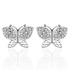 preiswerte Ohrringe-Damen Kristall Ohrstecker - versilbert Schleife Schleife Silber Für Hochzeit Party Alltag