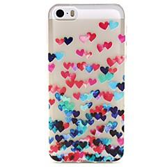 Недорогие Кейсы для iPhone 5-Для Кейс для iPhone 5 Прозрачный / С узором Кейс для Задняя крышка Кейс для С сердцем Мягкий TPU iPhone 7 Plus / iPhone 7 / iPhone SE/5s/5