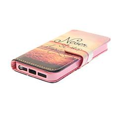 Недорогие Кейсы для iPhone 5-Кейс для Назначение iPhone 5 Apple Кейс для iPhone 5 Бумажник для карт Кошелек со стендом Флип С узором Чехол Слова / выражения Твердый