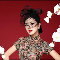 Kobiety Pióro Winieta-Ślub Piękny Przypadkowy Na wolnym powietrzu Fascinators Kwiaty Czapki Welony Birdcage 1 sztuka