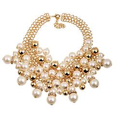 preiswerte Halsketten-Damen Perle Mehrschichtig Statement Ketten - Perle Kugel Erklärung, Luxus, Europäisch Golden Modische Halsketten Für Party, Besondere Anlässe, Geburtstag