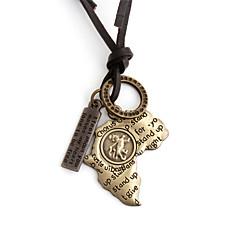 Недорогие Ожерелья-Муж. Ожерелья с подвесками - Кожа Карты Африка Золотой Ожерелье Назначение Повседневные, Спорт