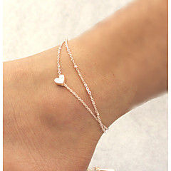 Damskie Łańcuszek na kostkę/Bransoletki Stop Unikalny Miłość Modny Podwójna warstwa biżuteria kostiumowa Heart Shape Biżuteria Biżuteria