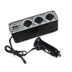 Недорогие Автоэлектроника-три порта мощности автомобиля распределитель с USB 12v