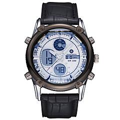 お買い得  大特価腕時計-ASJ 男性用 リストウォッチ 日本産 30 m 耐水 アラーム クロノグラフ付き ステンレス レザー バンド アナログ/デジタル ぜいたく ブラック / ブルー / ブラウン - Brown ブルー ホワイトとブラック 2年 電池寿命 / LCD / 2タイムゾーン / Maxell SR626SW + SEIKO CR2025