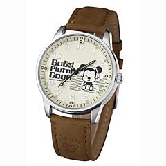 お買い得  メンズ腕時計-男性用 ドレスウォッチ リストウォッチ クォーツ 耐水 ホット販売 PU バンド ハンズ チャーム カジュアル ブラック - ホワイト ブラック Brown