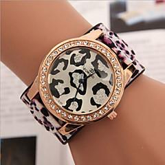 voordelige Luipaardhorloges-Dames Modieus horloge Kwarts imitatie Diamond Leer Band Luipaard  Blauw Rood Groen Paars Geel Paars Geel Rood Groen Blauw