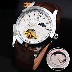 tanie Promocje zegarków-Męskie zegarek mechaniczny Szkieletowy Nakręcanie automatyczne Hollow Grawerowanie Wodoszczelny Gorąca wyprzedaż Skóra naturalna Pasmo