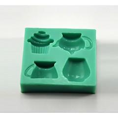 voordelige -theepot theekopje cupcake vormige fondant cakevorm chocolade siliconen mal / decoratie gereedschappen voor keukenbaksel