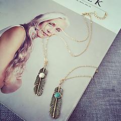 preiswerte Halsketten-Damen Quaste Anhängerketten - Feder Quaste, Retro, Böhmische Weiß, Blau Modische Halsketten Schmuck Für Party, Alltag