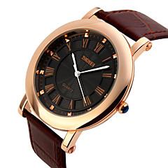SKMEI Masculino Relógio de Pulso Quartzo Quartzo Japonês Impermeável Couro Banda Preta Marrom Preto Marron