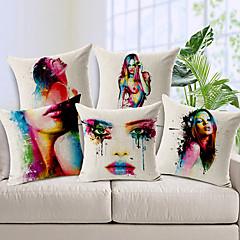 sarja 5 elin maalaus värikäs kukka puuvilla / pellava koriste tyyny