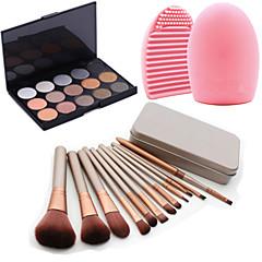 hesapli -12pcs kozmetik makyaj aracı allık fırçası seti vakıf kutu + 15colors ışıltı göz farı paleti + 1pcs fırça temizleme aracı