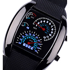 cheap -Mens Sports Car Rpm Blue&White Led Speed Wrist Watch Cool Watch Unique Watch