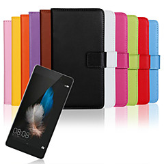 cheap Huawei P Series Cases / Covers-For Huawei Case / P8 / P8 Lite Wallet / Card Holder / with Stand / Flip Case Full Body Case Solid Color Hard PU Leather HuaweiHuawei P8 /