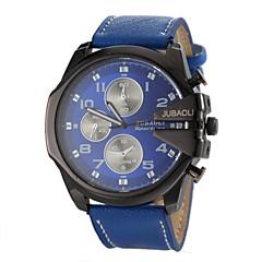 preiswerte Herrenuhren-JUBAOLI Herrn Militäruhr / Armbanduhr Armbanduhren für den Alltag Leder Band Charme Schwarz / Weiß / Blau