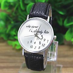 preiswerte Tolle Angebote auf Uhren-Damen Armbanduhr Quartz Weltkarte Muster PU Band Analog Freizeit Modisch Uhr mit Wörtern Schwarz / Weiß / Grün - Weiß Schwarz Grün