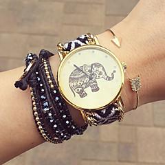お買い得  レディース腕時計-女性用 クォーツ ブレスレットウォッチ 手作り カジュアルウォッチ 生地 バンド 花型 ボヘミアンスタイル ファッション ブラック