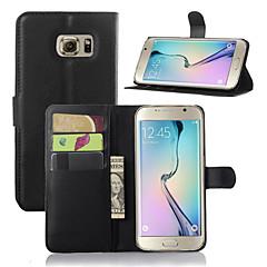 voordelige Galaxy S6 Hoesjes / covers-hoesje Voor Samsung Galaxy Samsung Galaxy hoesje met standaard met venster Volledig hoesje Effen Kleur PU-nahka voor S7 edge S7 S6 edge