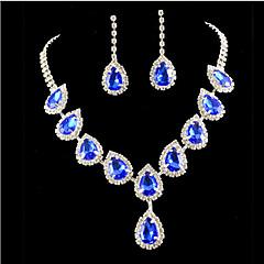 여성 보석 세트 패션 컬러풀 의상 보석 모조 다이아몬드 귀걸이 목걸이 제품 파티 특별한 때 생일 약혼 결혼 선물