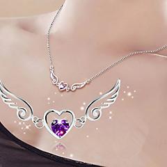 Damskie Naszyjniki z wisiorkami Heart Shape Skrzydła / Feather Srebro standardowe Miłość Ślubny biżuteria kostiumowa Biżuteria Na Ślub