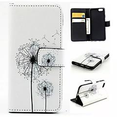 Недорогие Кейсы для iPhone 6-Кейс для Назначение Apple iPhone 6 iPhone 6 Plus Бумажник для карт Кошелек со стендом Флип С узором Чехол одуванчик Твердый Кожа PU для