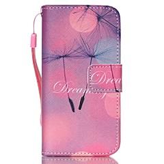 Для Кейс для iPhone 5 Кошелек / со стендом / Флип Кейс для Чехол Кейс для Одуванчик Твердый Искусственная кожа iPhone SE/5s/5
