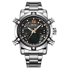 お買い得  大特価腕時計-WEIDE 男性用 クォーツ 日本産クォーツ リストウォッチ アラーム カレンダー クロノグラフ付き 耐水 スポーツウォッチ 2タイムゾーン LCD ステンレス バンド ぜいたく シルバー