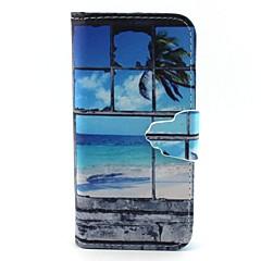 Недорогие Кейсы для iPhone 5-Кейс для Назначение iPhone 5 Кейс для iPhone 5 Кошелек / со стендом / Флип Чехол Пейзаж Твердый Кожа PU для iPhone SE / 5s