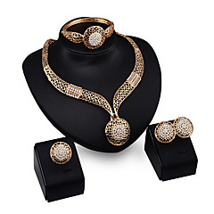cheap Jewelry Sets-Women's Jewelry Set Gold Plated Alloy Cuff Vintage Party Statement Jewelry European Bracelet Earrings Necklaces Ring Costume Jewelry