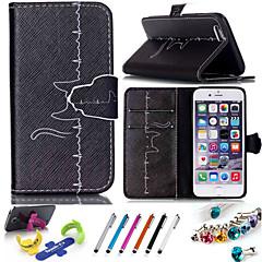 Для Кейс для iPhone 6 / Кейс для iPhone 6 Plus Кошелек / Бумажник для карт / со стендом / Флип / С узором Кейс для Чехол Кейс дляЧерный и