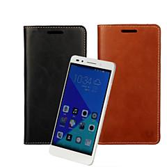 お買い得  Huawei Pシリーズケース/ カバー-ケース 用途 Huawei社の名誉7 Huawei Huaweiケース カードホルダー ウォレット スタンド付き フリップ フルボディーケース 純色 ハード PUレザー のために Huawei Honor 7 Huawei