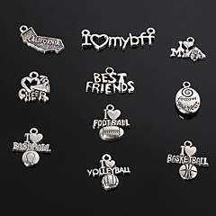 Beadia Metal Charm Pendants Antique Silver Cheer& Baseball Football Volleyball&Caltfornia& Best Friends Charms