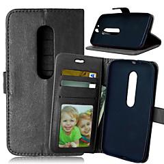 Недорогие Чехлы и кейсы для Motorola-Кейс для Назначение Motorola Кейс для Motorola Бумажник для карт Кошелек со стендом Флип Чехол Сплошной цвет Твердый Кожа PU для