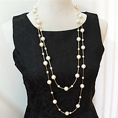 abordables Collares-Mujer Multi capa Strands Collares Collares en capas Collar con perlas Perla Perla Artificial Strands Collares Collares en capas Collar