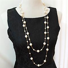 preiswerte Halsketten-Damen Mehrschichtig Stränge Halskette / Layered Ketten / Perlenkette - Perle, Künstliche Perle Mehrlagig Silber, Golden Modische Halsketten Schmuck Für Hochzeit, Party, Alltag / Normal