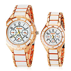 voordelige Horloges voor stellen-Heren Dames Voor Stel Kwarts Dress horloge Hot Sale Legering Band Amulet Wit