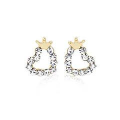 Χαμηλού Κόστους Σκουλαρίκια-Γυναικεία Καρδιά Crown Shape Κρύσταλλο Επάργυρο Κουμπωτά Σκουλαρίκια Χειροπέδες Ear - Love Καρδιά Χρυσαφί Crown Shape Σκουλαρίκια Για