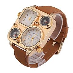 Męskie Zegarek na nadgarstek Kwarcowy Dwie strefy czasowe Skóra Pasmo Khaki