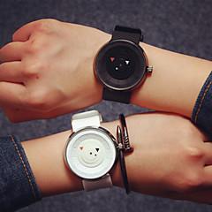 voordelige Horloges voor stelletjes-Heren Dames Voor Stel Modieus horloge Kwarts Silicone Band Zwart Wit