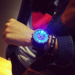 billige Herreure-Herre Quartz Unik Creative Watch Armbåndsur LED Silikone Bånd Vedhæng Sort